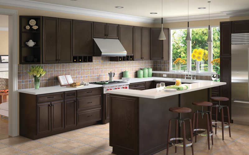 Espresso-K dark traditional cabinets