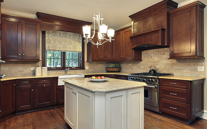 Fusion Chestnut Dark Brown Kitchen Cabinets With White Islands