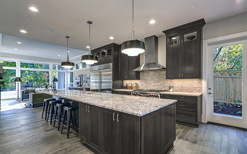 Galaxy Cobblestone modern dark grey kitchen cabinets