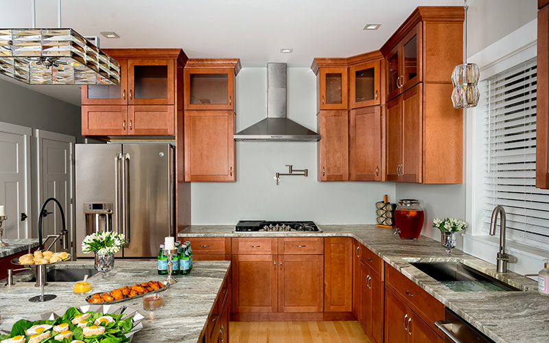 Galaxy Pecan light brown modern kitchen cabinets