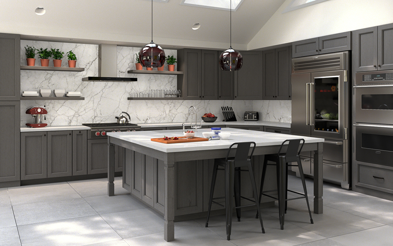 Midtown Grey modern recessed panel kitchen cabinets