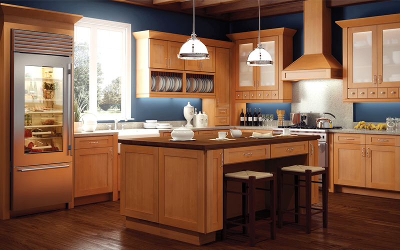 light wood grain kitchen cabinets