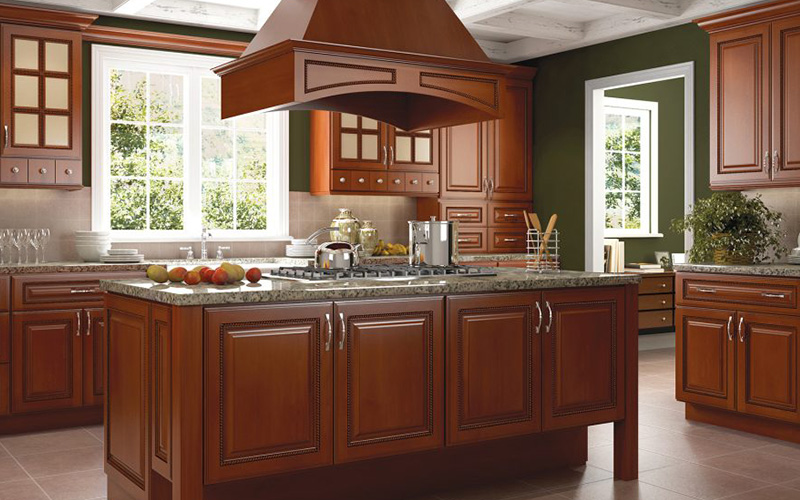 Sienna Rope dark brown traditional kitchen cabinets